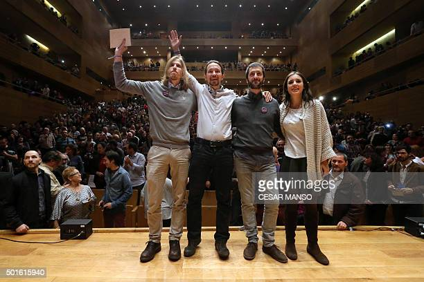 Leftwing Podemos party member Pablo Fernandez Leader of left wing party Podemos and candidate for the upcoming December 20 general election Pablo...