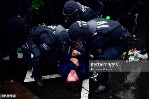 Leftwing protesters clash with police forces outside the Hannover Congress Centrum prior to today's AfD federal congress on December 2 2017 in...