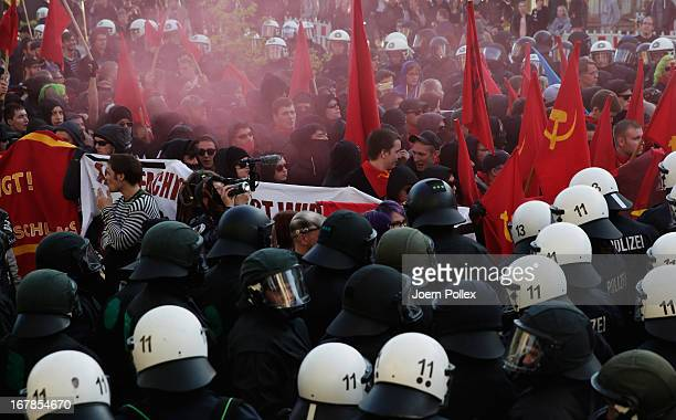 Leftwing protesters clash with police in Altona district on May Day on May 1 2013 in Hamburg Germany May Day the international day of labour is a...