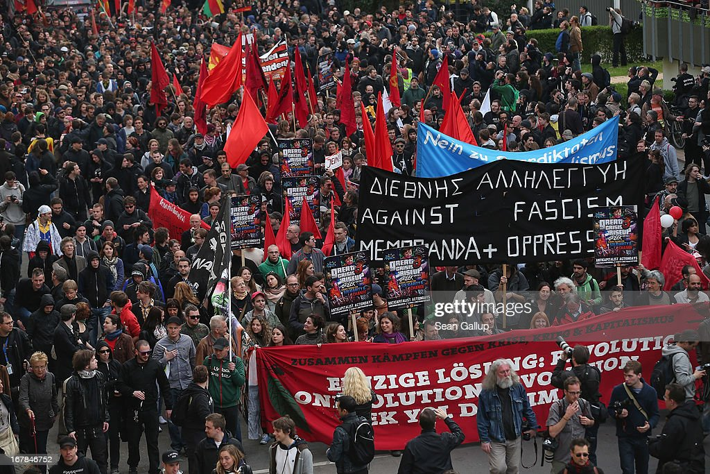 "Leftwing protesters march in the annual ""Revolutionaerer 1 Mai"" demonstration in Kreuzberg district on May Day on May 1 2103 in Berlin Germany..."