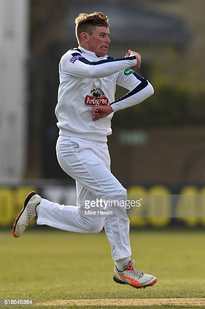 Leg spinner Mason Crane of Hampshire in action during a friendly match between Sussex and Hampshire at the 1st Central County Ground on April 1 2016...