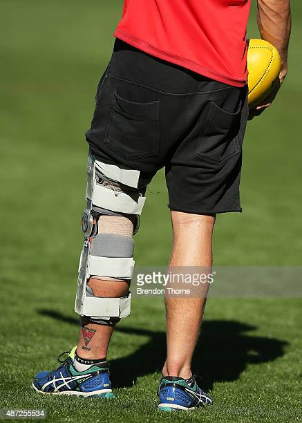 A leg support is seen on Kieren Jack's leg during a Sydney Swans AFL training session at Sydney Cricket Ground on September 8 2015 in Sydney Australia