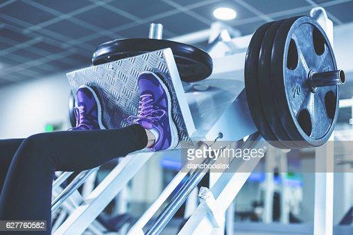 Leg workout close up shot