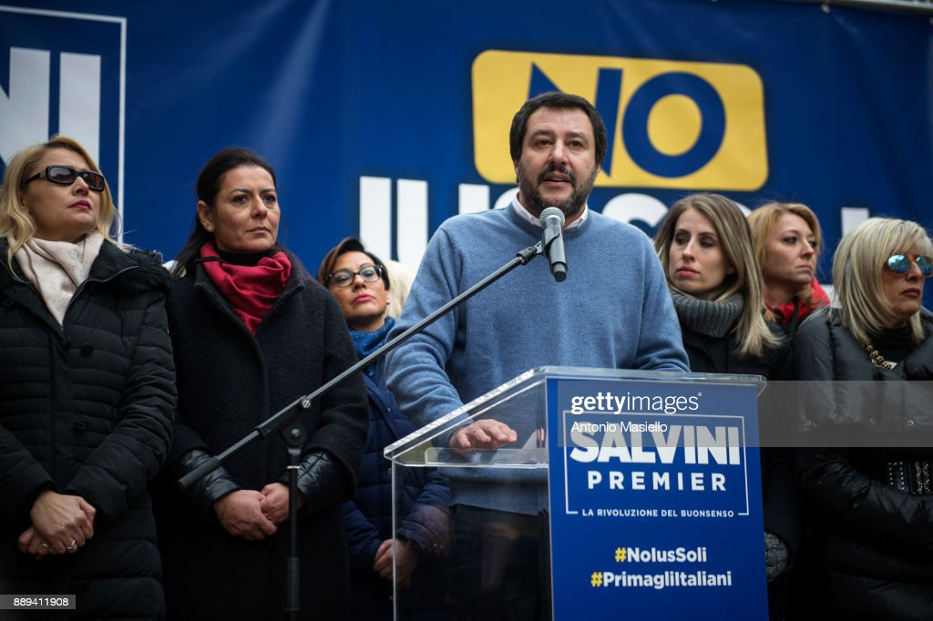Lega Nord Party Supporters Demonstrate Against The 'Ius Soli' Law