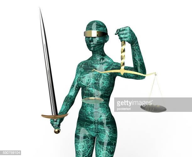 Rechtliche Computer Richter Konzept, Lady Justiz isoliert auf Weiß