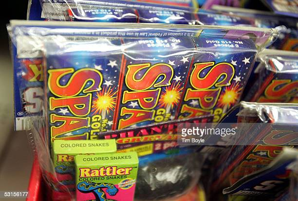 Legal sparklers snakes and other firework paraphernalia are displayed at a Kmart store June 27 2005 in Chicago Illinois Consumers are picking up last...