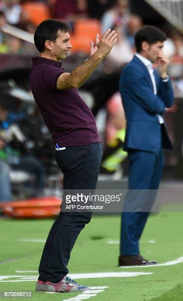 Leganes' coach Asier Garitano gestures on the sideline during the Spanish league footbal match Valencia CF vs Club Deportivo Leganes SAD at the...
