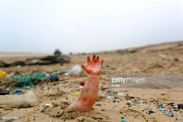 LegeCapFerret March 2014 cleaning of the beach of Grand Crohot and beach of Truc Vert Baby doll's arm in the sand