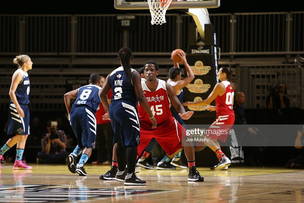 NBA Legend A.C. Green of the West Team defends against the East Team during the NBA Cares Special Olympics Unified Sports Basketball Game at Sprint Arena during the 2014 NBA All-Star Jam Session at the Ernest N. Morial Convention Center on February 16, 2014 in New Orleans, Louisiana.