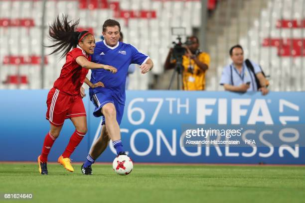 Legend Alex Scott of USA controlls the ball during a FIFA Football Tournament ahead of the 67th FIFA Congress at Bahrain National Stadium on May 10...