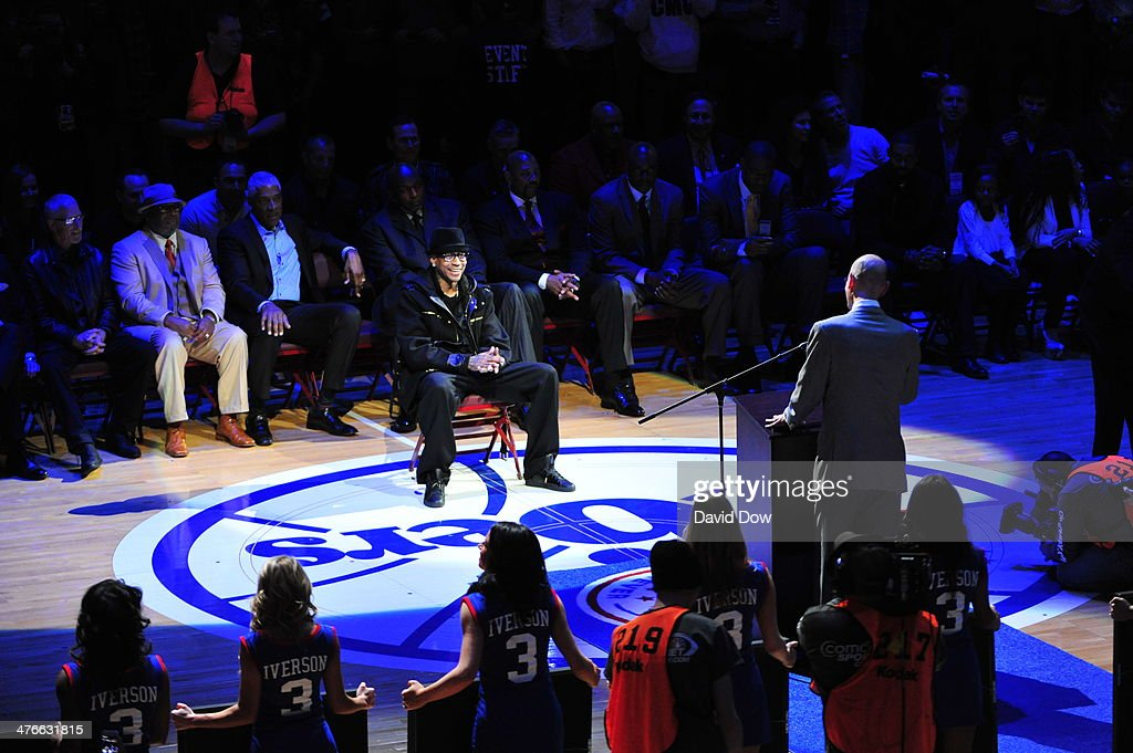 Legend <a gi-track='captionPersonalityLinkClicked' href=/galleries/search?phrase=Allen+Iverson+-+Basketball+Player&family=editorial&specificpeople=201479 ng-click='$event.stopPropagation()'>Allen Iverson</a> is honored as the Philadelphia 76ers retire his #3 jersey during a halftime ceremony of the Washington Wizards game against the Philadelphia 76ers at the Wells Fargo Center March 1, 2014 in Philadelphia, Pennsylvania.