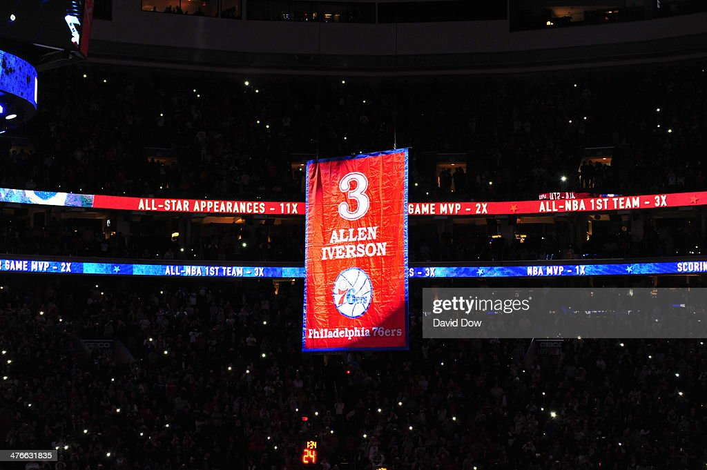 Legend <a gi-track='captionPersonalityLinkClicked' href=/galleries/search?phrase=Allen+Iverson+-+Basketball+Player&family=editorial&specificpeople=201479 ng-click='$event.stopPropagation()'>Allen Iverson</a> is honored as the Philadelphia 76ers retire his #3 jersey and raise it to the rafters at the halftime ceremony of the Washington Wizards game against the Philadelphia 76ers at the Wells Fargo Center March 1, 2014 in Philadelphia, Pennsylvania.