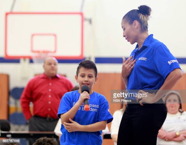WNBA legend Allison Feaster answers questions from a young fan at Victor Fields Elementary School in McAllen Texas BBVA Compass and WNBA Cares...