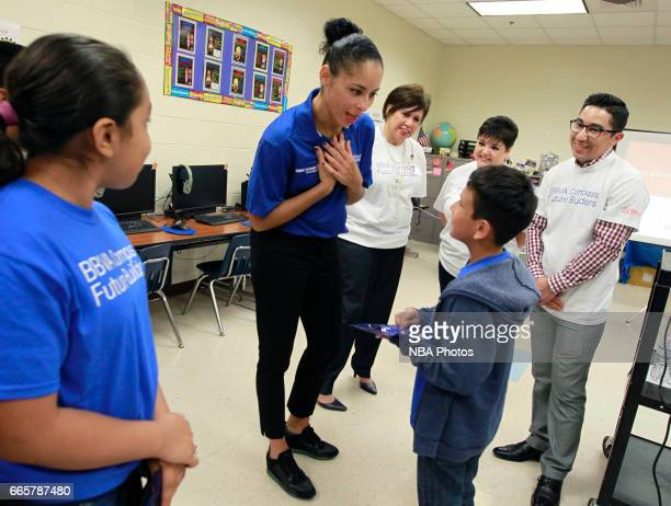 WNBA Legend Allison Feaster talks with students while visiting Victor Fields Elementary School in McAllen Texas BBVA Compass and WNBA Cares partnered...