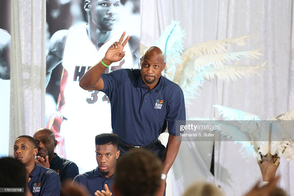 Legend Alonzo Mourning of the Miami Heat is introduced at the 2013 NBA Finals Legacy Project as part of the 2013 NBA Finals on June 7, 2013 at the Joe Celestin Center in Miami, Florida.
