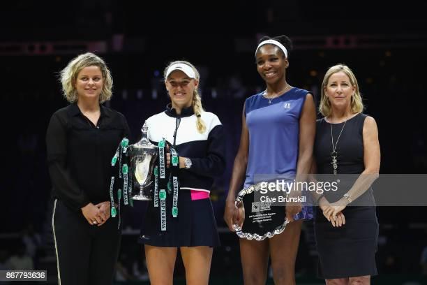 WTA Legend Ambassador Kim Clijsters winner Caroline Wozniacki of Denmark Venus Williams of the United States and WTA Legend Ambassador Chris Evert...