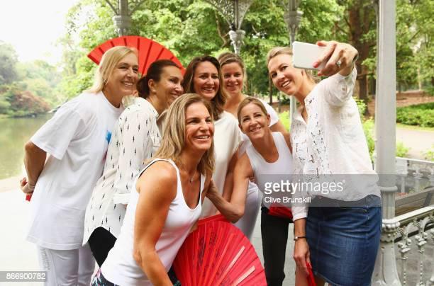 Legend Ambassadors Alicia Molik Iva Majoli Arantxa Sanchez Vicario Martina Navratilova Chris Evert Mary Pierce and Kim Clijsters take a selfie during...