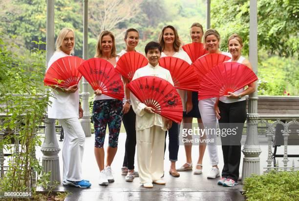 WTA Legend Ambassadors Martina Navratilova Arantxa Sanchez Vicario Iva Majoli Alicia Molik Mary Pierce Kim Clijsters and Chris Evert pose with May...