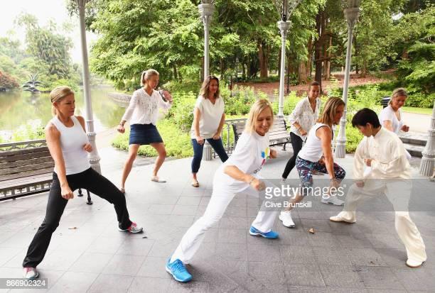 Legend Ambassadors Martina Navratilova Chris Evert Alicia Molik Mary Pierce Arantxa Sanchez Vicario Iva Majoli and Kim Clijsters take part in a Tai...