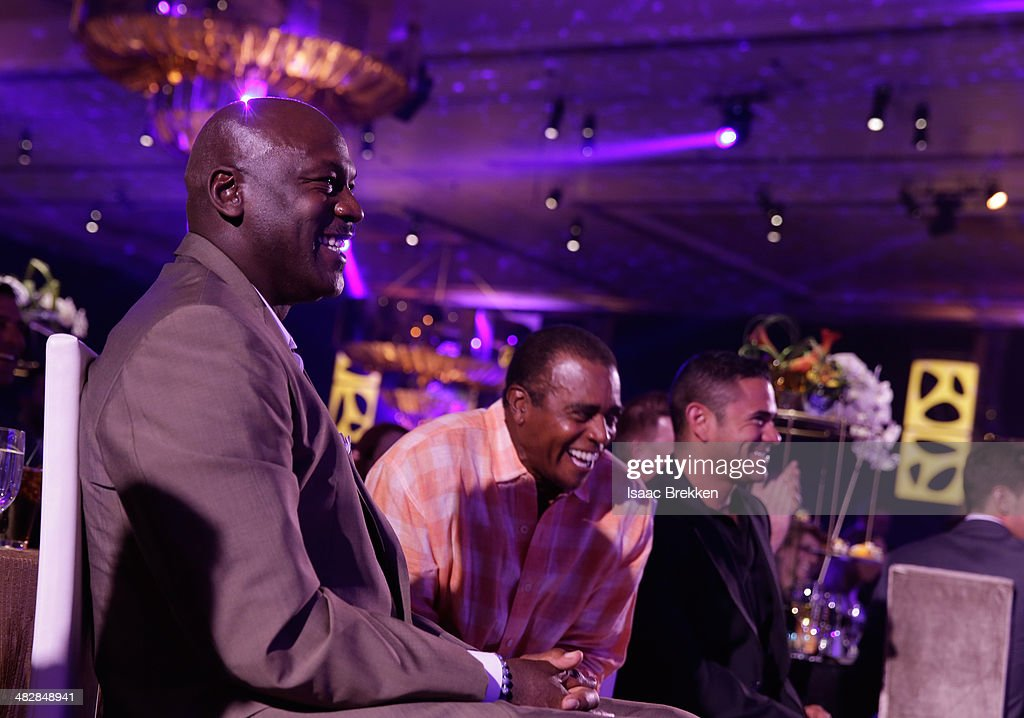 NBA legend and tournament host <a gi-track='captionPersonalityLinkClicked' href=/galleries/search?phrase=Michael+Jordan+-+Basketball+Player&family=editorial&specificpeople=73625 ng-click='$event.stopPropagation()'>Michael Jordan</a> (L) and sportscaster and former National Football League player <a gi-track='captionPersonalityLinkClicked' href=/galleries/search?phrase=Ahmad+Rashad&family=editorial&specificpeople=228301 ng-click='$event.stopPropagation()'>Ahmad Rashad</a> (C) attend the 13th annual <a gi-track='captionPersonalityLinkClicked' href=/galleries/search?phrase=Michael+Jordan+-+Basketball+Player&family=editorial&specificpeople=73625 ng-click='$event.stopPropagation()'>Michael Jordan</a> Celebrity Invitational gala at the ARIA Resort & Casino at CityCenter on April 4, 2014 in Las Vegas, Nevada.