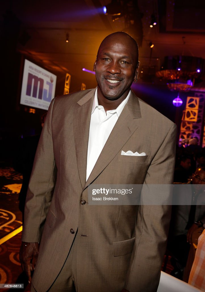 NBA legend and tournament host <a gi-track='captionPersonalityLinkClicked' href=/galleries/search?phrase=Michael+Jordan+-+Basketball+Player&family=editorial&specificpeople=73625 ng-click='$event.stopPropagation()'>Michael Jordan</a> attends the 13th annual <a gi-track='captionPersonalityLinkClicked' href=/galleries/search?phrase=Michael+Jordan+-+Basketball+Player&family=editorial&specificpeople=73625 ng-click='$event.stopPropagation()'>Michael Jordan</a> Celebrity Invitational gala at the ARIA Resort & Casino at CityCenter on April 4, 2014 in Las Vegas, Nevada.