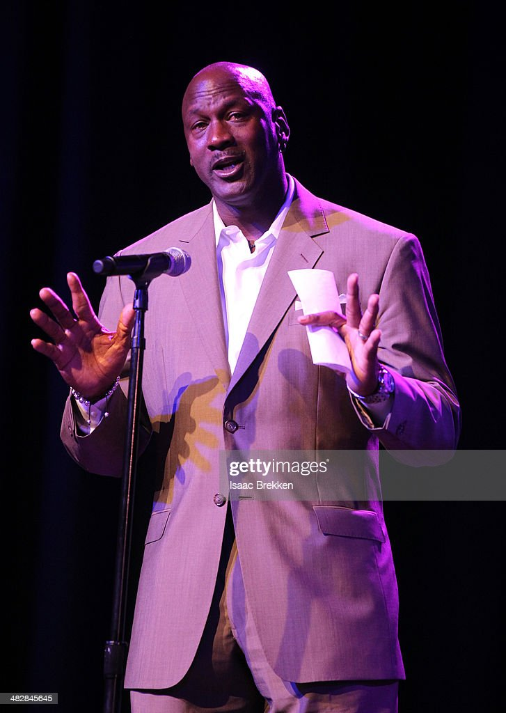 NBA legend and tournament host <a gi-track='captionPersonalityLinkClicked' href=/galleries/search?phrase=Michael+Jordan+-+Basketball+Player&family=editorial&specificpeople=73625 ng-click='$event.stopPropagation()'>Michael Jordan</a> speaks at the 13th annual <a gi-track='captionPersonalityLinkClicked' href=/galleries/search?phrase=Michael+Jordan+-+Basketball+Player&family=editorial&specificpeople=73625 ng-click='$event.stopPropagation()'>Michael Jordan</a> Celebrity Invitational gala at the ARIA Resort & Casino at CityCenter on April 4, 2014 in Las Vegas, Nevada.