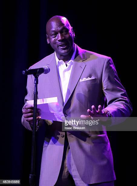 NBA legend and tournament host Michael Jordan speaks at the 13th annual Michael Jordan Celebrity Invitational gala at the ARIA Resort Casino at...