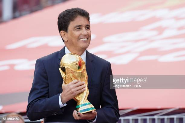 Legend Bebeto with a Trophy during FIFA World Cup Trophy Tour at Luzhniki stadium on September 9 2017 in Moscow Russia