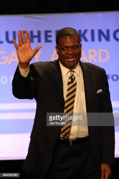 Legend Bernard King waves to the crowd during the Martin Luther King Jr Sports Legacy Symposium before a game against the New Orleans Pelicans and...