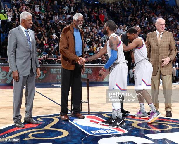 Legend Bill Russell greet Kyrie Irving of the Eastern Conference AllStars during the NBA AllStar Game as part of the 2017 NBA All Star Weekend on...