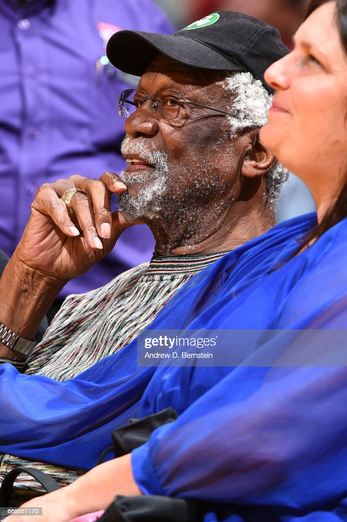 NBA Legend, Bill Russell is seen at the game between the Los Angeles Lakers and the New Orleans Pelicans on April 11, 2017 at STAPLES Center in Los Angeles, California.