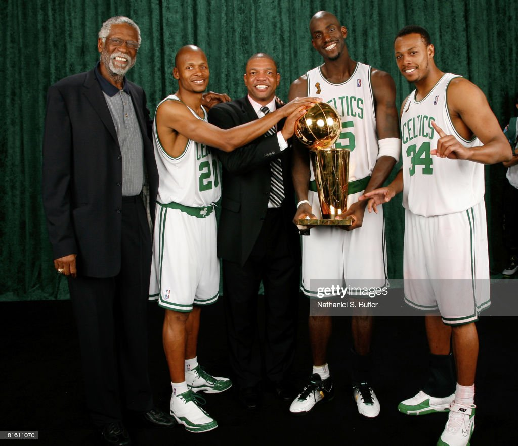 Legend Bill Russell Ray Allen Head Coach Doc Rivers Kevin Garnett and Paul Pierce of the Boston Celtics pose for a portrait with the Larry O'Brien...