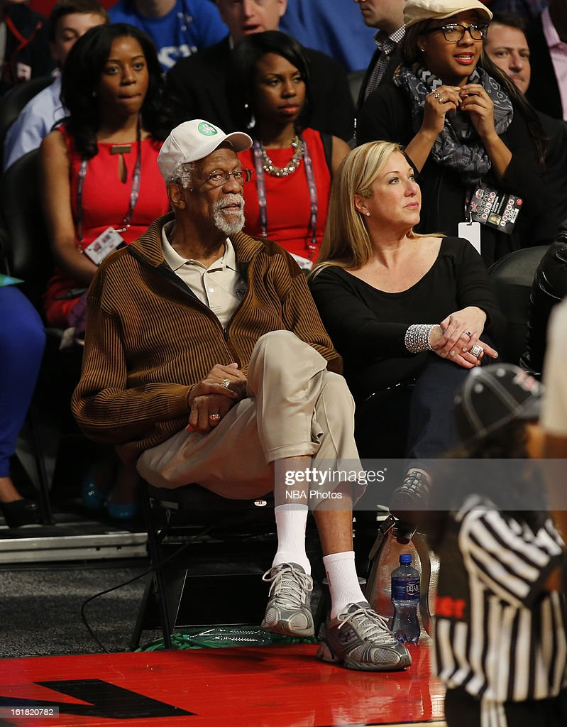 NBA Legend Bill Russell sits courtside during the Sears Shooting Stars on State Farm All-Star Saturday Night during NBA All Star Weekend on February 16, 2013 at the Toyota Center in Houston, Texas.