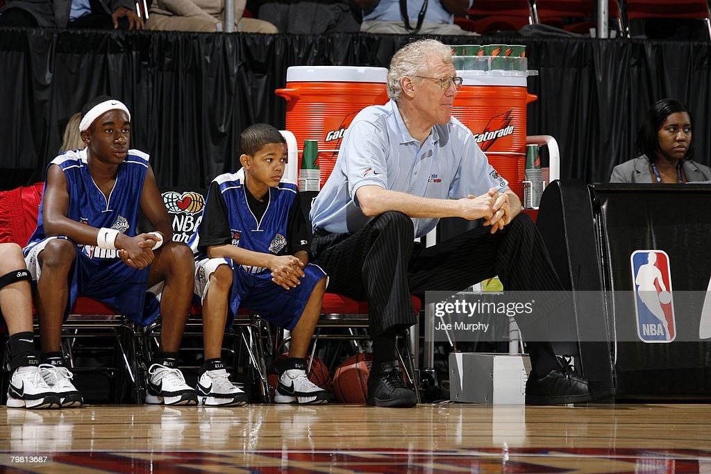 Legend Bill Walton coaches the Jr NBA/WNBA National team during the Jr NBA/WNBA National game on center court during NBA Jam Session Presented by...