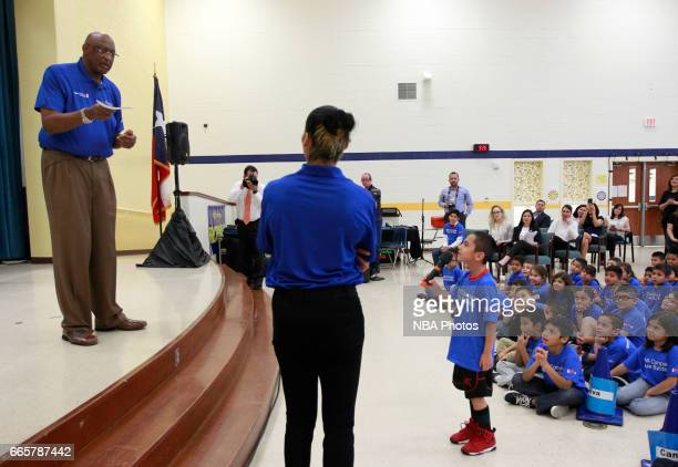 NBA legend Bob Lanier participates at a WNB cares event at Victor Fields Elementary School in McAllen Texas BBVA Compass and WNBA Cares partnered to...