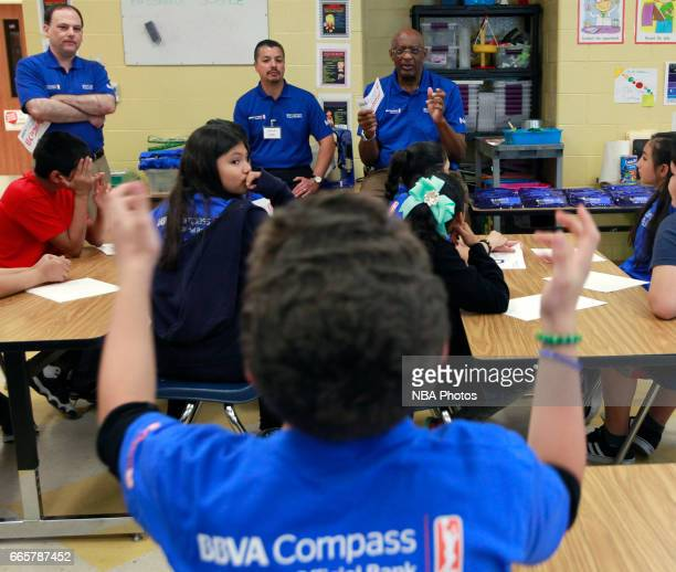 NBA legend Bob Lanier talks with students about financial literacy at Victor Fields Elementary School in McAllen Texas BBVA Compass and WNBA Cares...