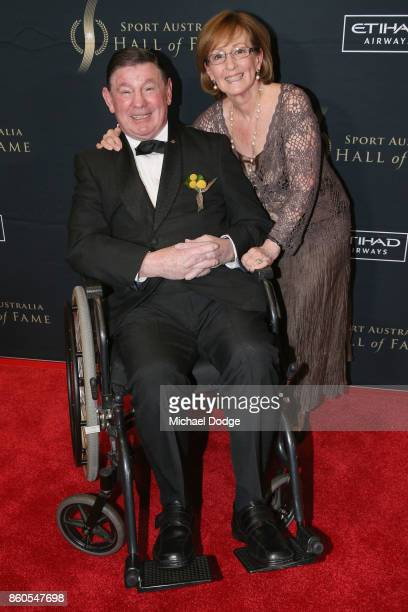 Legend boxer John Famechon poses with his his wife Glenys at the Sport Australia Hall of Fame Annual Induction and Awards Gala Dinner at Crown...