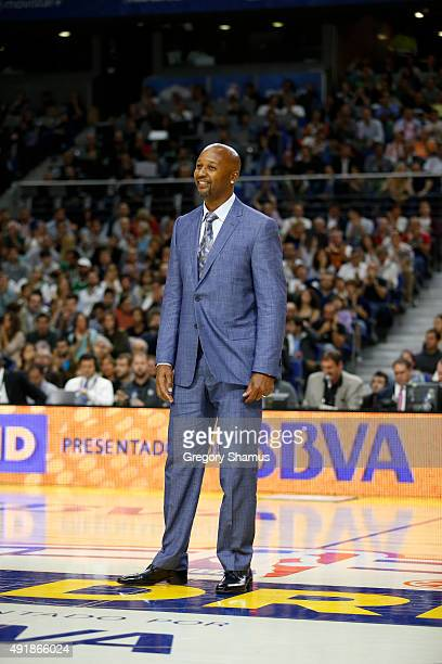 Legend Brian Shaw addresses the crowd during the game between the Boston Celtics and Real Madrid as part of the 2015 Global Games on October 8 2015...