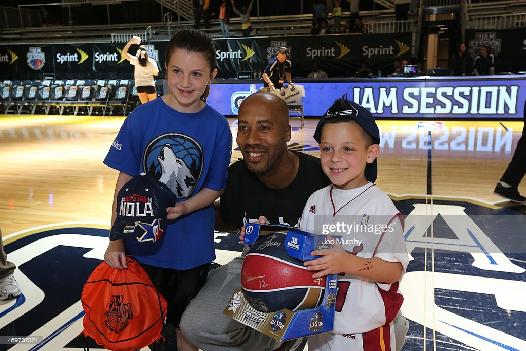 NBA Legend Bruce Bowen poses for a photo with fans after the Legends 3-Point Challenge at Sprint Arena during the 2014 NBA All-Star Jam Session at the Ernest N. Morial Convention Center on February 16, 2014 in New Orleans, Louisiana.