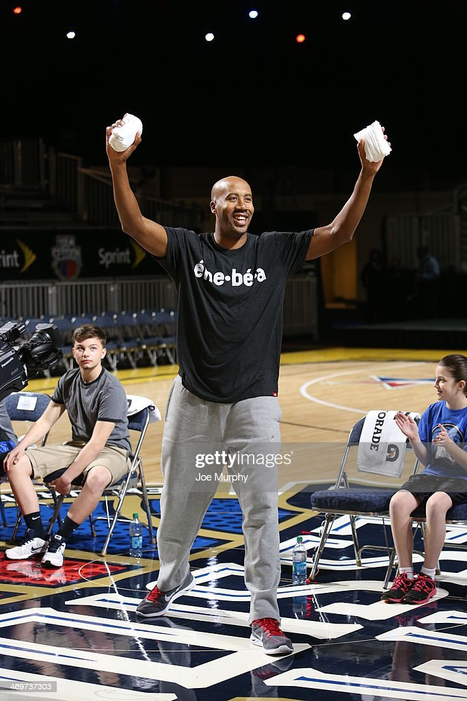 NBA Legend Bruce Bowen tosses t-shirts to the crowd during Legends 3-Point Challenge at Sprint Arena during the 2014 NBA All-Star Jam Session at the Ernest N. Morial Convention Center on February 16, 2014 in New Orleans, Louisiana.