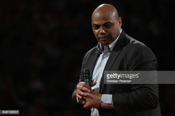NBA legend Charles Barkley speaks during half time of the NBA game between the Oklahoma City Thunder and the Phoenix Suns at Talking Stick Resort...