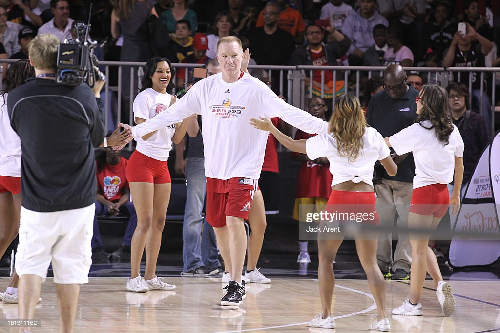 Legend Chris Mullin of the East All-Stars is announced before the NBA Cares Special Olympics Unified Sports Basketball Game on Center Court at Jam Session during the NBA All-Star Weekend on February 17, 2013 at the George R. Brown Convention Center in Houston, Texas.
