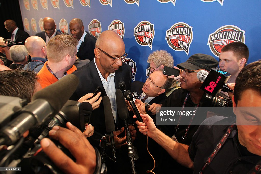 NBA Legend <a gi-track='captionPersonalityLinkClicked' href=/galleries/search?phrase=Clyde+Drexler&family=editorial&specificpeople=208989 ng-click='$event.stopPropagation()'>Clyde Drexler</a> speaks to the media at the Hall of Fame press conference during of the 2013 NBA All-Star Weekend at the Hilton Americas Hotel on February 15, 2013 in Houston, Texas.