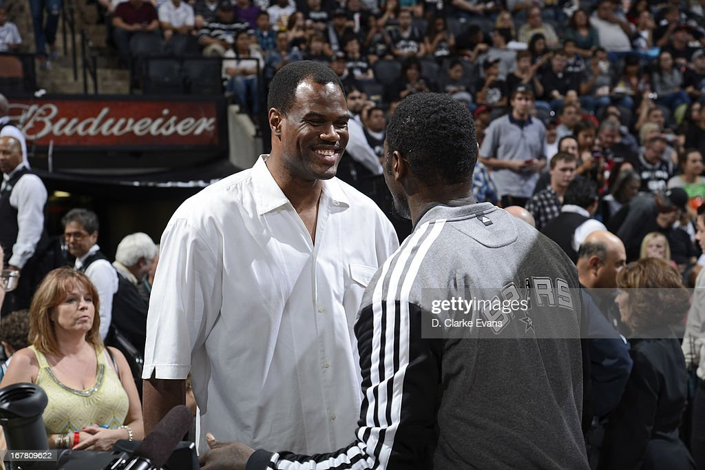 NBA legend David Robinson comes to support the San Antonio Spurs when they play against the Miami Heat on March 31, 2013 at the AT&T Center in San Antonio, Texas.