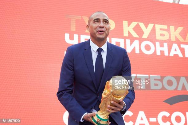 Legend David Trezeguet holds a Troph during FIFA World Cup Trophy Tour at Luzhniki stadium on September 9 2017 in Moscow Russia