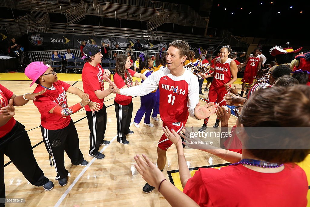 NBA Legend Detlef Schrempf and Ruth Riley of the Atlanta Dream are announced before the NBA Cares Special Olympics Unified Sports Basketball Game at Sprint Arena during the 2014 NBA All-Star Jam Session at the Ernest N. Morial Convention Center on February 16, 2014 in New Orleans, Louisiana.