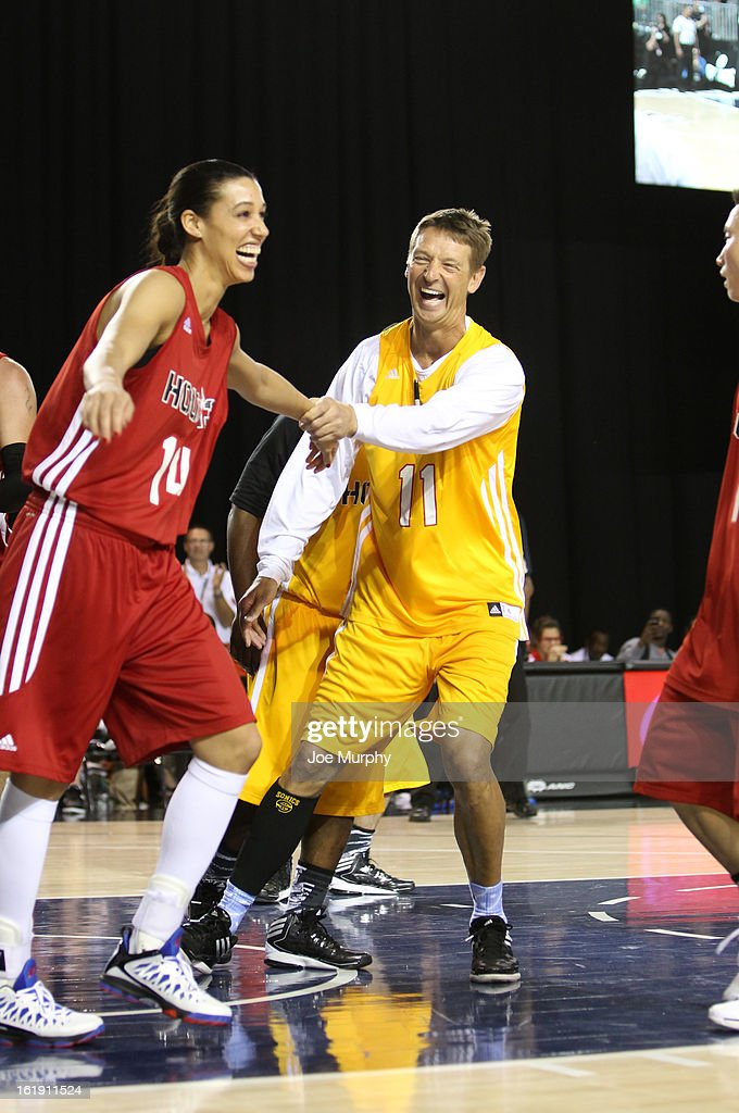 NBA Legend Detlef Schrempf and WNBA player Nicole Powell participate during the NBA Cares Special Olympics Unity Sports Basketball Game on Center Court during the 2013 NBA Jam Session on February 17, 2013 at the George R. Brown Convention Center in Houston, Texas.