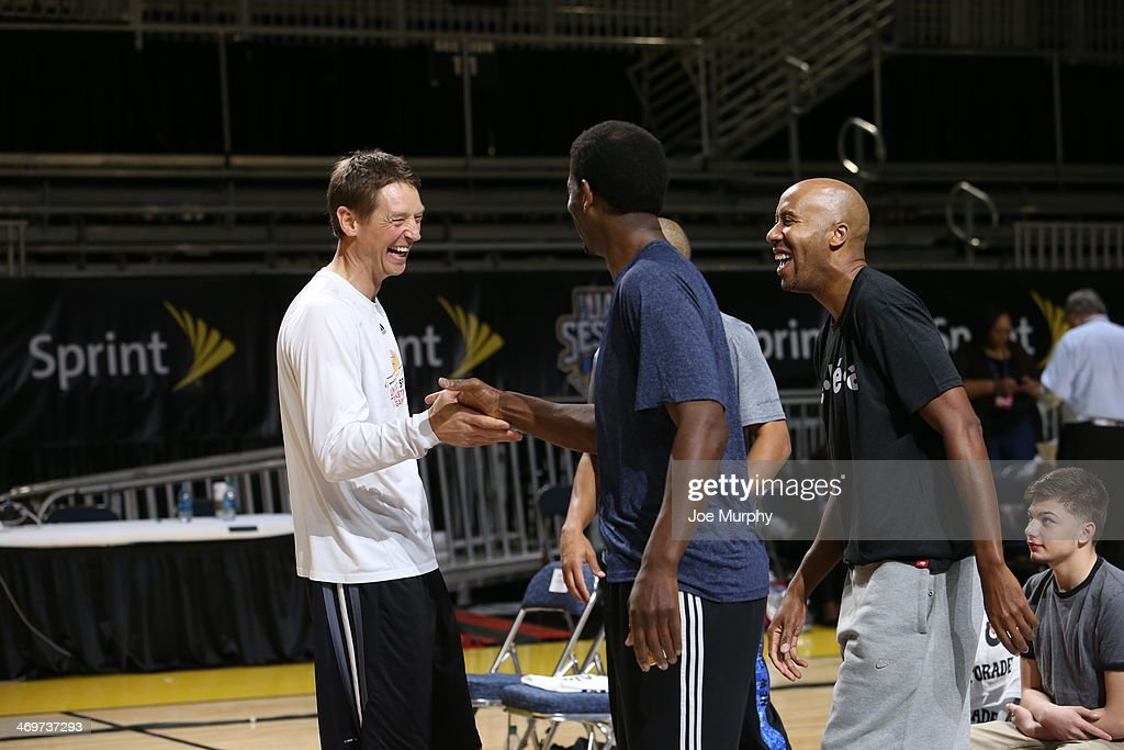 NBA Legend Detlef Schrempf greets NBA Legends A. C. Green and Bruce Bowen during the Legends 3-Point Challenge at Sprint Arena during the 2014 NBA All-Star Jam Session at the Ernest N. Morial Convention Center on February 16, 2014 in New Orleans, Louisiana.