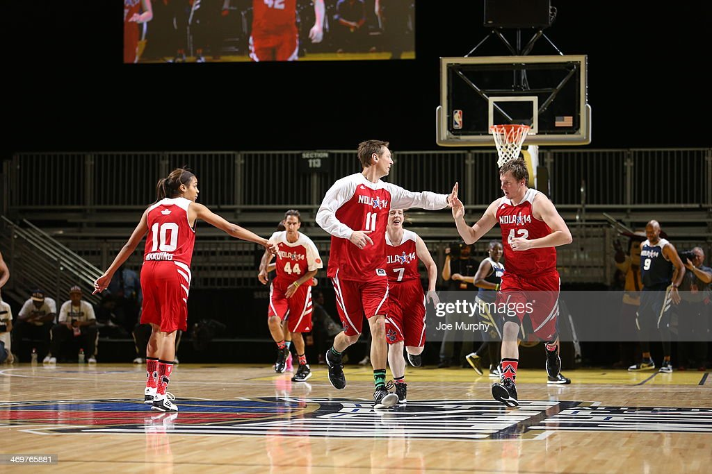 NBA Legend Detlef Schrempf of the West Team high-fives his team mate during the NBA Cares Special Olympics Unified Sports Basketball Game at Sprint Arena during the 2014 NBA All-Star Jam Session at the Ernest N. Morial Convention Center on February 16, 2014 in New Orleans, Louisiana.