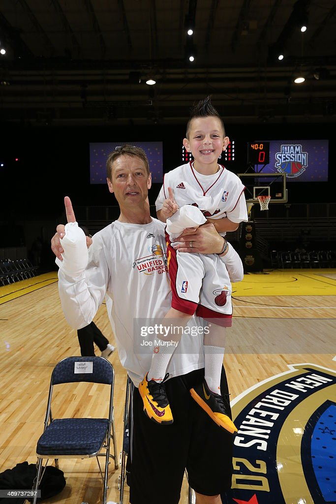 NBA Legend Detlef Schrempf poses for a photo with a fan during the Legends 3-Point Challenge at Sprint Arena during the 2014 NBA All-Star Jam Session at the Ernest N. Morial Convention Center on February 16, 2014 in New Orleans, Louisiana.